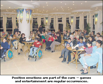 Positive emotions are part of the cure - games and entertainment are regular occurences
